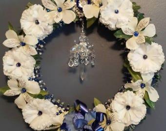 Wreath Blue Beading, white flowers.