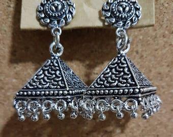 Indian Brass tribal gypsy boho ethnic pyramid dangle hippie earrings jhumkis