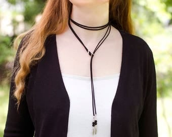 Long Lariat Necklace Boho Jewelry Gift under 20 Modern Jewelry Girlfriend Gift Idea|for|Sister Gifts Suede Choker Necklace Summer Trend Gift