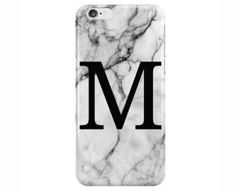 Personalised Large Single initial White Marble Phone Case Cover for Apple iPhone 5 6 6s 7 8 Plus & Samsung Galaxy Customized Monogram