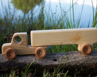 Wooden Toy Truck with trailer