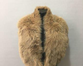Luxury Beige Fox Fur Collar