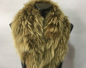 Real Natural Lime Green Fin Raccoon Fur Collar