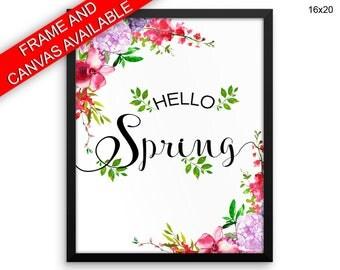 Hello Spring Canvas Art Hello Spring Printed Hello Spring Spring Art Hello Spring Spring Print Hello Spring Framed Art Hello Spring