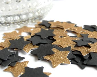 Black And Gold Glimmer Stars Confetti - Gold Wedding Decor - New Year's Party Decor - Gold Glimmer Stars