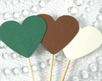 Green, White And Brown Cupcake Toppers - Natural Wedding Decorations - Muffin Toppers