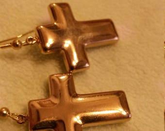 Vintage Cross Earings Gold Dangle