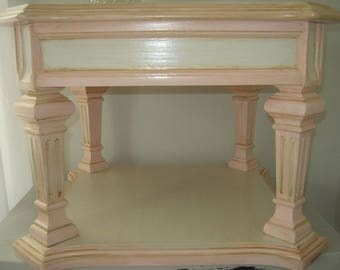 Vintage pink + antique white +gold hand painted bedside/end Table