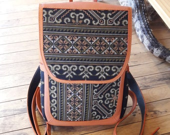 Backpacks cow leather integrate with Hmong embroidery fabric