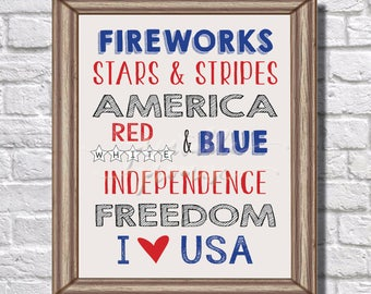 4th of July || Printable || Graphic quotes || Fireworks || Stars and Stripes || America || Red White and Blue || Indpendence || Freedom