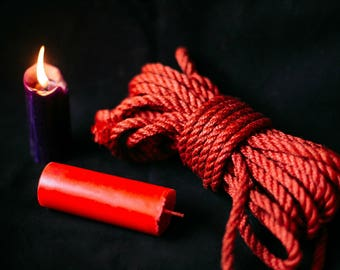 Set of 2 Handmade BDSM Candles (Red, Purple) and 1 Shibari Rope For Bondage Play And Suspension