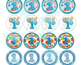 1st birthday muffin CupCake Topper eating paper wafers muffin in laminated decorative D9 Oblate paper B1