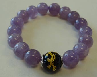Amethyst and dragon bead bracelet