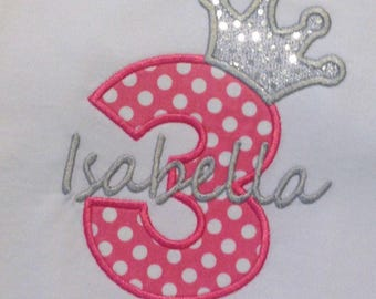 Birthday Tiara with number applique