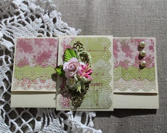 floral greeting card, handmade cards, cards gift, cards for girls, scrapbooking
