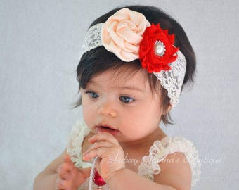 Baby Girls Headband Lace Flower Pearl Hairband Soft lace