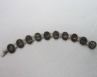 Antique Damascene Japanese 10 Link Bracelet with inlaid Gold & Silver