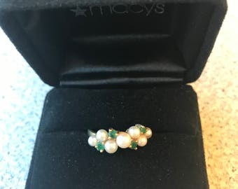 Real Emeralds & Seed Pearls 14K Ring