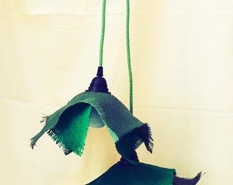 Green Burlap Jute Lamp - Lampadario Iuta Verde