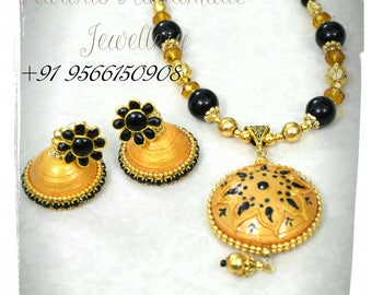 Onam Quilled Jewellery set with Antique beads