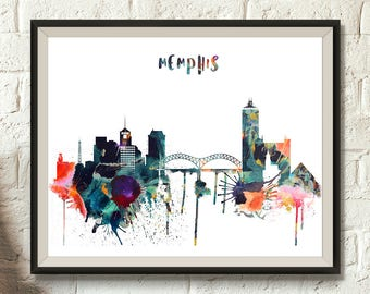 Memphis Printable Skyline, Tennessee Digital Poster, Memphis Watercolor, Cityscape office decor, Wall decor, Typography, Digital Download