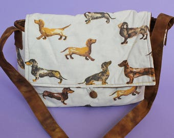 Dachshund fabric quilted cotton bag