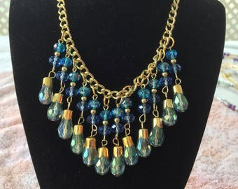 "20"" Gold Tone Blue Waterfall Dangling Blue Beaded Necklace"