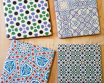 Moroccan style ceramic coasters - set of 4