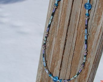 Aquatic Blue and Purple Beaded Necklace