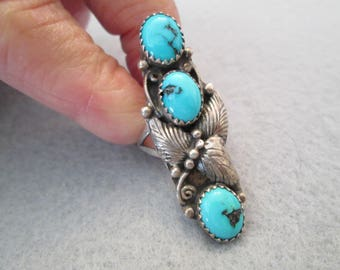 Fabulous Knuckle to Knuckle Sterling Ring with 3 SLEEPING BEAUTY TURQUOISE Stones>>Excellent condition> Navajo handcrafted
