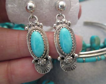 SALE>>>Navajo Sterling & Genuine Turquoise Drop Earrings> Outstanding Blue Color! > signed> Excellent condition> Pierced posts