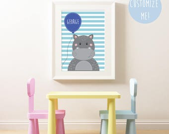 Hippo Balloon Name Nursery Print, Customize your own. Choose your own background pattern, colour and name!
