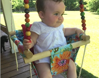Baby swing, cloth swing, indoor outdoor swing, nursery swing, patio swing, baby shower gift