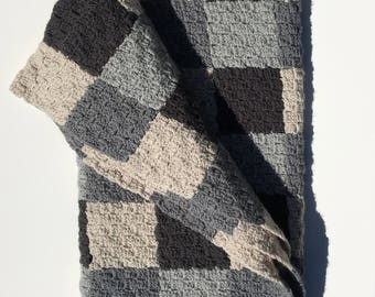 Crocheted Gray Plaid Afghan Blanket