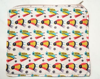 Bird Pattern Zip Pouch Lined