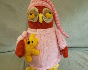 Hand Knitted Sleepy Owl