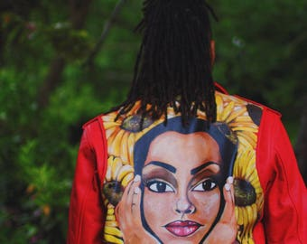 Sunflower Sade Red Leather Jacket