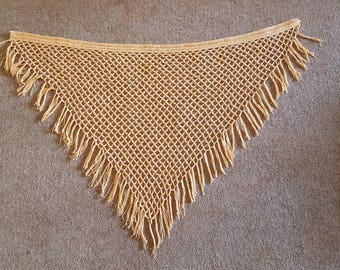 Hand crochet vintage style lace mustard coloured shawl with fringe.