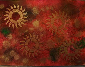 PAINTING: Red and Gold Watercolors