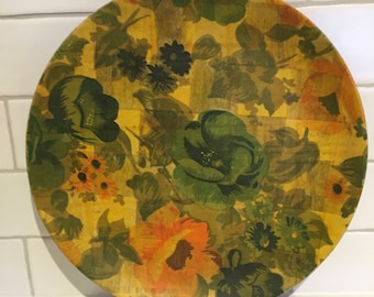 Unusual pretty floral print woven wooden wound serving platter. Vintage, Retro, Gorgeous.
