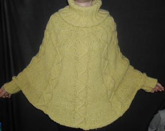 Hand knitted mohair sweater poncho