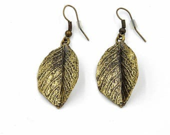 Hanging earrings, earrings, earrings, antique, gold leaf earrings, nickel free, hangemachter jewelry