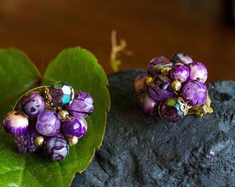 Vintage Purple Hong Kong Cluster Earrings