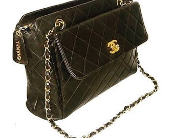 Authentic Chanel Black Quilted Lambskin Front Flap Double Chain Shoulder Bag