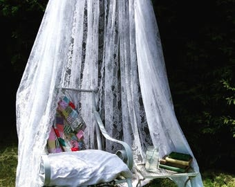 Lace canopy for your yard, porch or glamping