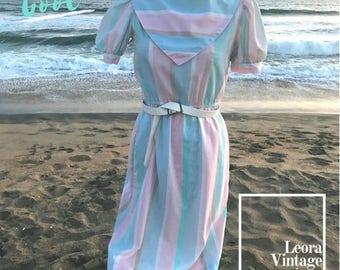 80 dress, vintage dress, Pastel strip dress, pastel vintage dress