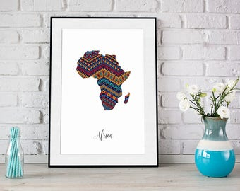 Africa shape pattern poster, Instant download