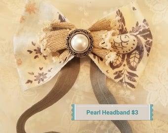 Antique-looking pearl bow headband