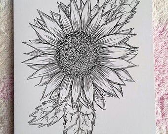 Sunflower illustrated card