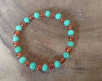 Bracelet of gemstone Carnelian and Jade!